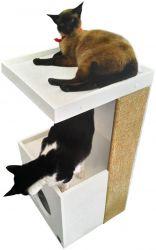 Arranhador para Gatos Antares em MDF Branco 15mm e Sisal
