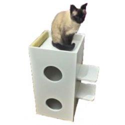 Arranhador para Gatos Scuti em MDF 15mm Branco e Sisal