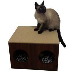 Arranhador p/ Gatos Double Box Horizontal em MDF 15mm Branco