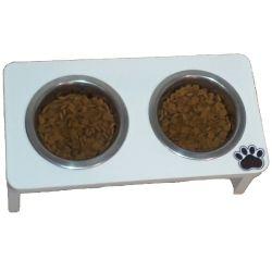 Comedouro Cat para Gatos, Tigelas em Inox e MDF 15mm Branco
